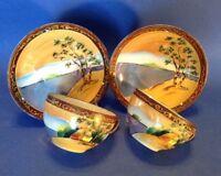 2 Tashiro Eggshell Cups And Saucers - Hand Painted Tree Meadow - Moriage - Japan