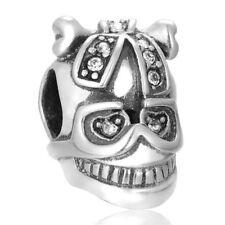 TESCHIO CON FIOCCO PAVE Goth ORIGINALE S925 Sterling Silver Charm Bead Fits Bracciale