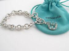 Tiffany & Co Silver Princess Crown Charm 7.55 Inch Bracelet Bangle - EXCELLENT!