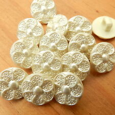 10 x pearl effect embossed flower buttons pale blue or cream 12mm diam size 20