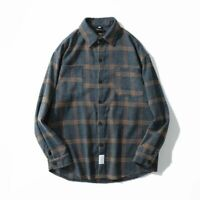 Flannel Striped Shirt For Men Long Sleeve Vintage Shirts Japanese Street Wear