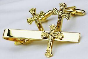 Crucifix Cuff Links & Tie Bar Clip Cufflinks Set Catholic
