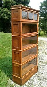 Antique Macey 5 Stack Barrister Bookcase Quarter Sawn Oak w/ Paneled Sides 1910
