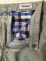 Bonobos 31 x 34 Washed Chinos Gray Slim Fit Flex 100% Cotton Pants