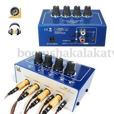 Mini Professional 4 Channel Earphone Headphone Audio Stereo Amp Amplifier Mixer