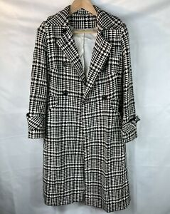 Laura Ashley Wool black & white checked dbl breasted wool full length coat sz 10