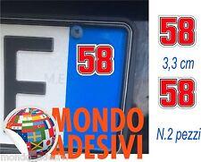 Adesivo targa Simoncelli 58 SIC 3,3 cm bollino targa TUNING AUTO Sticker 2 pz.
