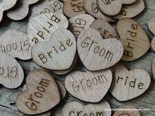"100 qty 1"" BRIDE GROOM Wood Heart Table Confetti Wooden Wedding Decor Heart Sign"