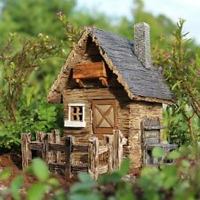 Miniature Garden Shed w Fence WS 553 House Cottage Door opens Fairy Garden