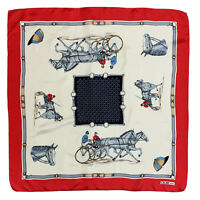 CELINE PARIS HORSES CARRIAGE RED HAND ROLLED Silk Scarf 34 Inches MADE IN ITALY