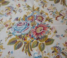Vintage French Botanical Daisy Roses Floral Cotton Fabric ~ Petrol Blue Salmon