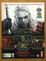 The Witcher PC 2007 Vintage Game Print Ad/Poster Official Art Big Box Promo Rare