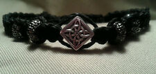 Bracelet Celtic Macrame Silver Knot Beads Black Hemp Handmade Jewelry Adjustable