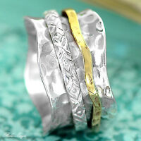 Solid 925 Sterling Silver Spinner Ring 2 Tone Swirls Spinning Wide Band Sz 6 7 8
