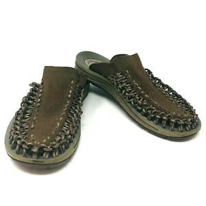 Keen Mens Uneek Slide Sandals Brown Bungee Cord Slip On Shoes Size 8
