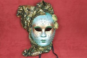 Venetian Wall Hanging Mask Green Face Decoration Handmade Party Home Decor Italy