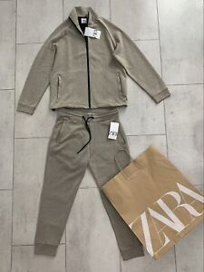 Zara Mens Beige  Tracksuit Top And Bottom Joggers New Size M