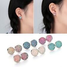 6Pairs High Quality Round Stud Earrings ColorfulSparkly Rhinestone Natural Stone