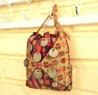 Antique Middle East Tribal Camel bag Embroidered Silk 7 Silver coins Hidden tube