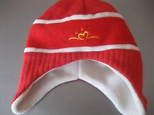 Kinder Mütze Kappe Rot Fleece u. Strick doppelt Gr.48-50 Ohrenschutz warm