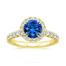 2.55 Ct Round Blue Sapphire Engagement Ring 14K Yellow Gold Real Diamond Size 6