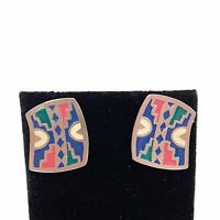 Silver Tone Colorful Enamel Stud Earrings Southwest Western Boho Blanket Print