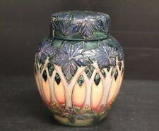 Beautiful Signed Moorcroft Pottery Ginger Jar Cluny Design Sally Tuffin w/ Lid