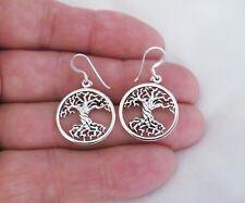 Sterling Silver tree of life dangle earrings # 9646
