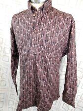 Vintage 80s Brown Black Patterned Cotton Marcs Sydney Dress Shirt NOS Never Worn