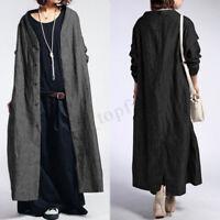 Women Long Sleeve Oversize Windbreak Jacket Coat Cotton Ethnic Outwear Tops Plus
