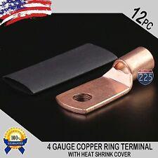 "12 PCS 4 Gauge GA Crimp Copper Ring Terminal Heat Shrink 1/4"" Hole Lug Connector"