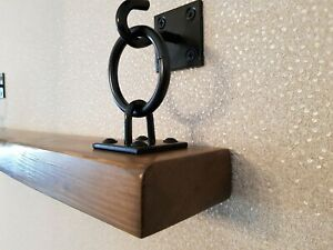 RUSTIC Oak Finished Hanging/Floating Wooden Shelf. With Black Brackets (New)