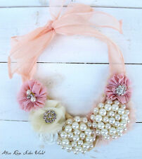 """Miss Rose Sister Violet QUALITY Pearl Flower PEACH Lace NECKLACE Choker """"Whimsy"""""""