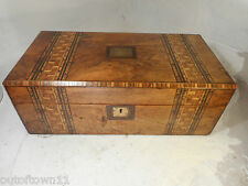 Large Antique Writing Slope Tunbrige Ware Bands Box , Secret Drawers  ref2883