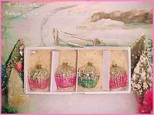 Romantic Antique Vtg Feather Tree Glass Pink Flower Basket Christmas Ornaments