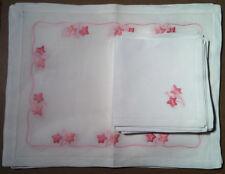Noel (Paris) - Set Of 11 Placemats and Napkins - 100% Linen - Pink Design