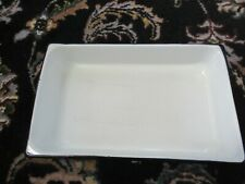 "Vintage White Enamel Black Edge 12"" x 7"" x 2"" Shallow Rectangular Baking Pan"