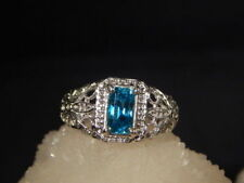 2.09 Ct.Emerald Cut Blue Zircon Ring Sterling Silver Floral Filigree