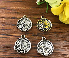 6pcs punk clock Tibetan Silver Bead charms Pendants DIY jewelry 15x12mm J144