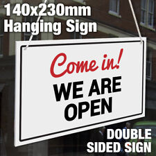 COME IN! WE ARE OPEN, SORRY! WE ARE CLOSED RIGID 3MM HANGING SHOP DOOR SIGN