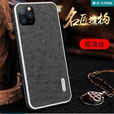 For iPhone 11 Pro Max Luxury Soft Black Genuine Leather Back Case Slim Cover