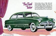 Old Print.  Green 1949 Ford Custom Tudor Sedan Automobile