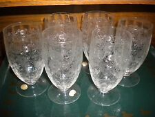 6 Lovely Vintage Etched Clear Crystal Glasses with original paper labels - Czech