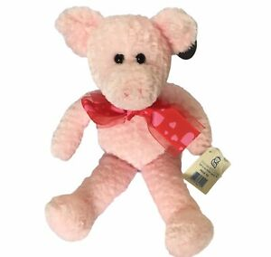 Princess Soft Toys Plush Pig Pink Red Heart Bow Super Soft Retired