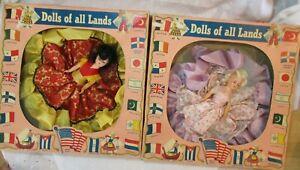 VINTAGE Dolls of All Lands Colonial & Senorita NOS Original Boxes A & H Doll Mfg