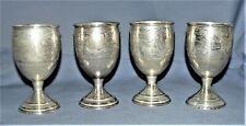 (4) Silver Goblets .900 Marked /Tested Etched Design Floral (Silver Value $265)