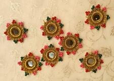 18 Gold Beaded Crochet Mirror-RIMS flat backed 2 Sew or Glue 4 Card Craft