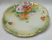 Antique Royal Munich Hand Painted Plate Red Pink Poppies scallop gold gilt rim