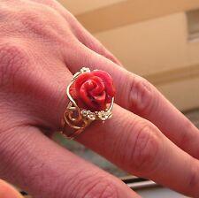 Vintage Estate CORAL ROSE hand made Leaf and Vine RING Silver Gold size 6 1/2