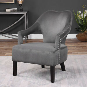 "28"" w Jack Accent Chair gray brushed nickel nailhead birch wood black finish"